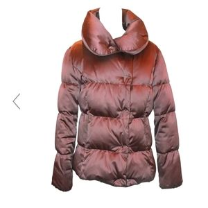 BURBERRY Quilted Puffer Down Oversized Standup Collar Maroon Short Jacket XS/S